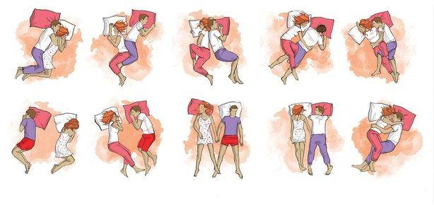 Положения для ночного отдыха у людей, только начинающих отношения, отличаются от способа засыпания пар, состоящих долгое время в браке.